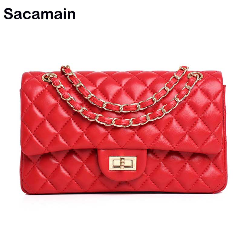 Hot Classical Female Crossbody Quilted Flap Bag Purse Lambskin Shoulder Bag Luxury Designer Sac A Main 100% Real Genuine Leather