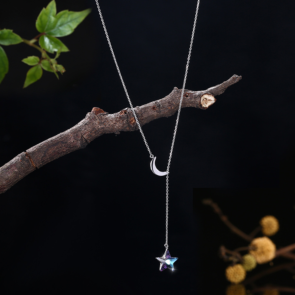 Lycra Nigerian Uses Swarovski Element Crystal Necklace Fine Silver 925 Adjustable Moon And Stars Pendant Necklace Women's