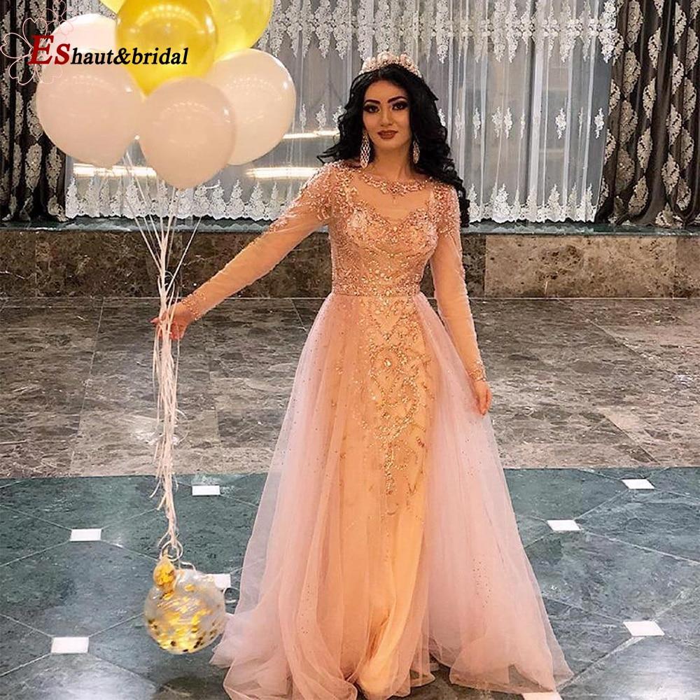 Long Sleeves   Evening     Dress   for Women 2019 Luxury Beads Handmade O Neck Mermaid Tuttle Formal   Evening   Gowns