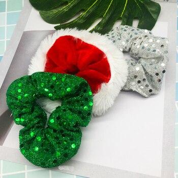 1PC Navidad Scrunchies para mujeres niñas elástico bandas de goma para el cabello de moda adornos de Navidad anillos de pelo de cola de caballo titular