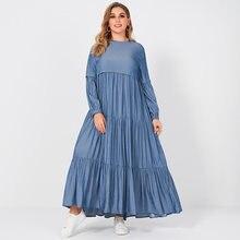 Robe longue d'été pour femmes, nouveauté, douce, couleur bleu pur, col rond, plissée, gâteau, ample, grande taille, manches longues