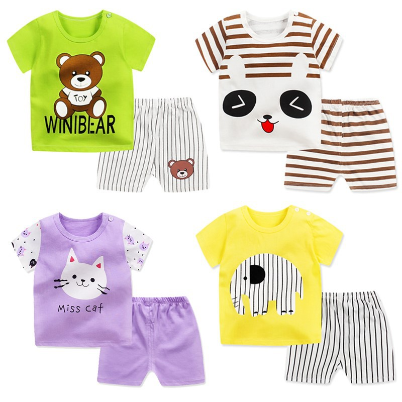 CHILDREN'S Short-sleeved Clothes Set 0-1-2-3-4-Year-Old Summer Solid Color Children T-shirt Baby Summer Kids Clothes BOY'S