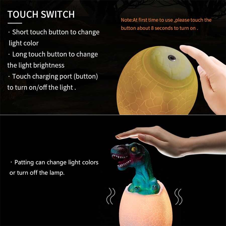 מגע חיישן לילה אור LED 3/16 צבעים טפיחת ביצת דינוזאור המיטה מנורת שלט רחוק מנורת לילה צעצוע נטענת מנורת שולחן