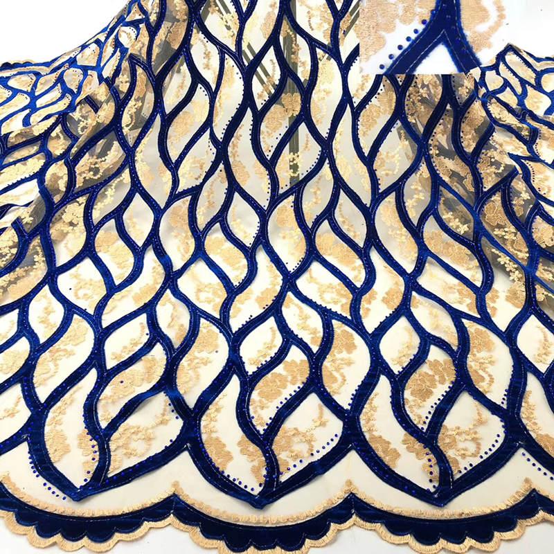 Oro viola Tessuto Africano Del Merletto di 2019 Nuovo di Alta Qualità Francese Tessuto di Pizzo di Velluto Con Pietre Tessuto Del Merletto Per La Cerimonia Nuziale Del Partito RG338-in Pizzo da Casa e giardino su  Gruppo 3