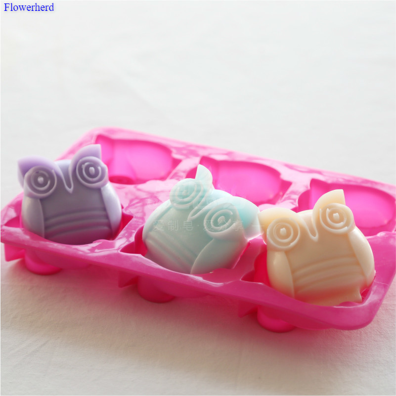 Food Grade Soft Silicone Handmade Soap Mold Six Owls Soap Molds For Soap Making Fondant Cake Chocolate Mold Cake Decor Bath Tool