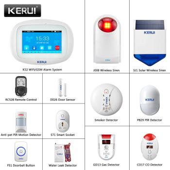 KERUI 4.3 Inch TFT Color Screen Wireless Security Alarm WIFI+GSM Anti-Theft System PIR Motion Sensor Door Sensor Wireless Siren 1