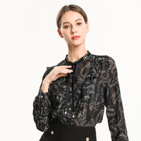 Europe And America High End Genuine Product Fat Mm Large Size Dress 2019 Spring New Style Stand Collar Contrast Color Lace up El