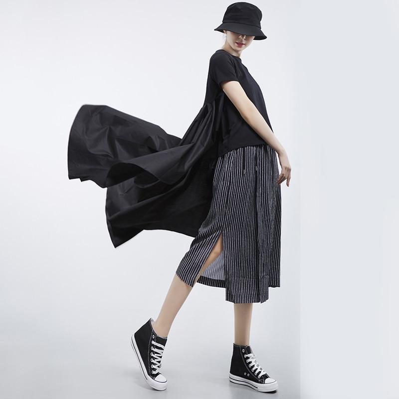 [EAM] 2020 New Spring Summer Round Neck Short Sleeve White Loose Pleated Irregular Hem T-shirt Women Fashion Tide JL867 4