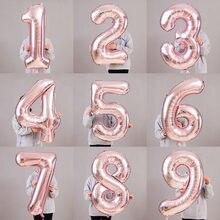 40-дюймовый Американский Стиль с цифрами воздушный шар из фольги из розового золота 0-9 тонком каблуке большого размера с цифрами шар из алюминиевой фольги для дня рождения W