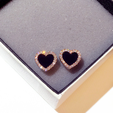 Engagement Enamel Heart Stud Earrings for Women Girls Rose Gold Color Summer jewelry Black Earring Wedding Gifts