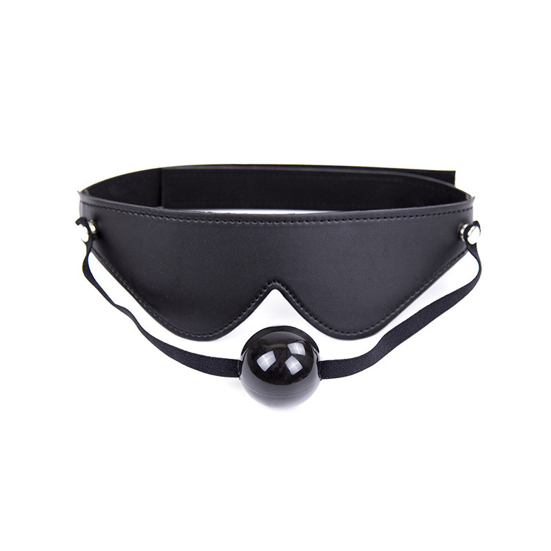 Black PU Leather Fetish Mask Flirt Sex Adult Games Erotic Products Bondage BDSM Sex Mask For Couples Slave Game Mask With Ball