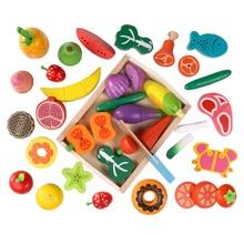 Kitchen-Toys Educational-Toy Montessori Fruit-Vegetables Wooden Children's Dessert Gift