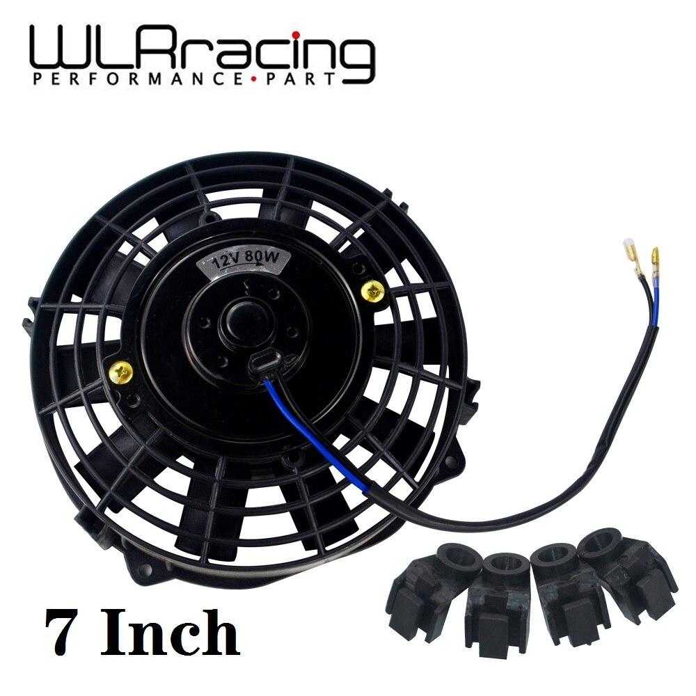 WLR - 7 pulgadas Universal 12V 80W radiador eléctrico Reversible Delgado AUTO ventilador Push Pull con kit de montaje tipo I 7
