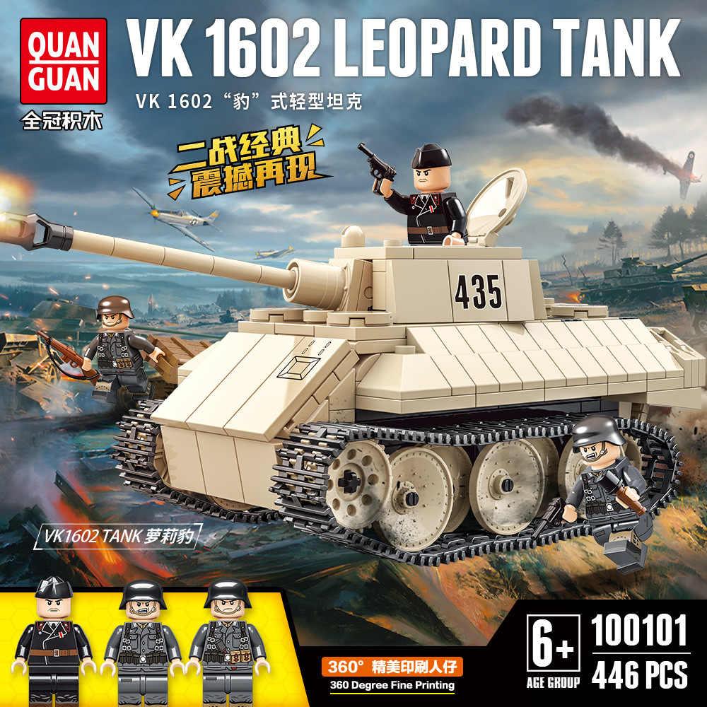 Nuevo Modelo de 446 Uds. WW2 de tanque, serie alemana Panther Tank VK1602, modelo de bloques de construcción, bloques WW2, figuras militares, Juguetes