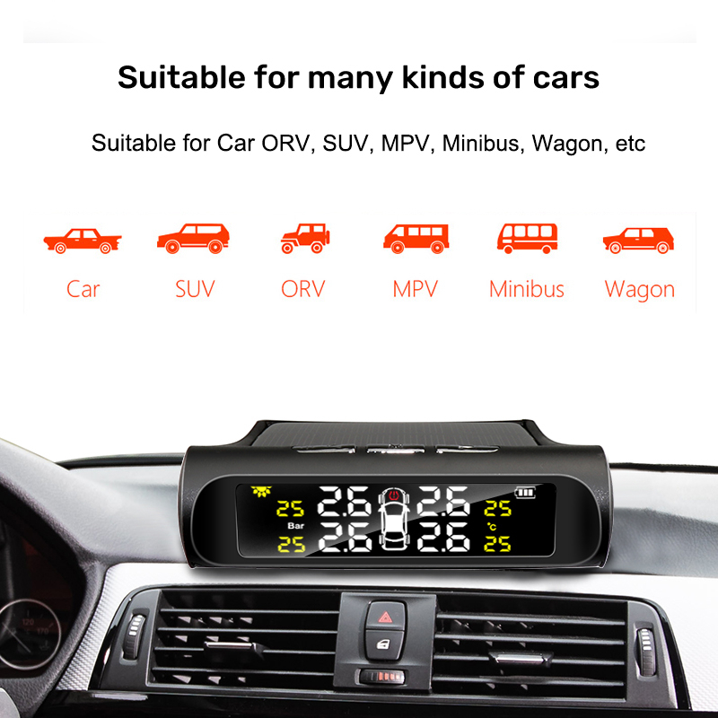 E-ACE Solar Power TPMS Car Tire Pressure Alarm Monitor System Auto Security Alarm Systems Tyre Pressure Temperature Warning 2