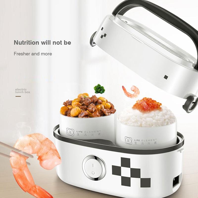 Élément de vie multifonction cuiseur à vapeur chaleur électrique cuiseur à riz Double céramique Pot intérieur Portable Mini électrique boîte à Lunch 220V