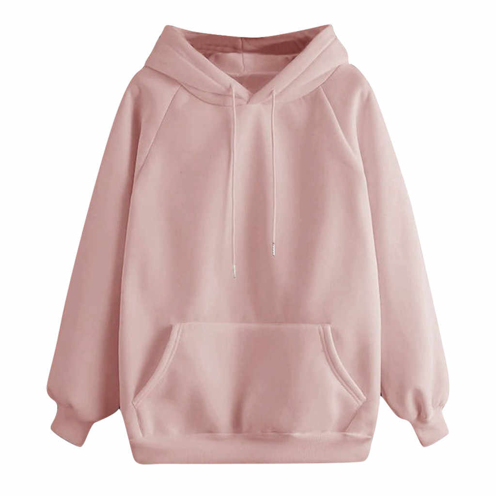 Hoodies Sweatshirt Vrouwen Casual Effen Kleur Met Pocket Lange Mouw Trui Losse Comfortabele Winter Sweatshirts Sudadera
