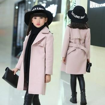 Winter Jackets for Girls Outwear Kids Wool Coat Thick Girl Snowsuit Baby Jackets Girls Blends Toddler Fur Coats Children Clothes цена 2017