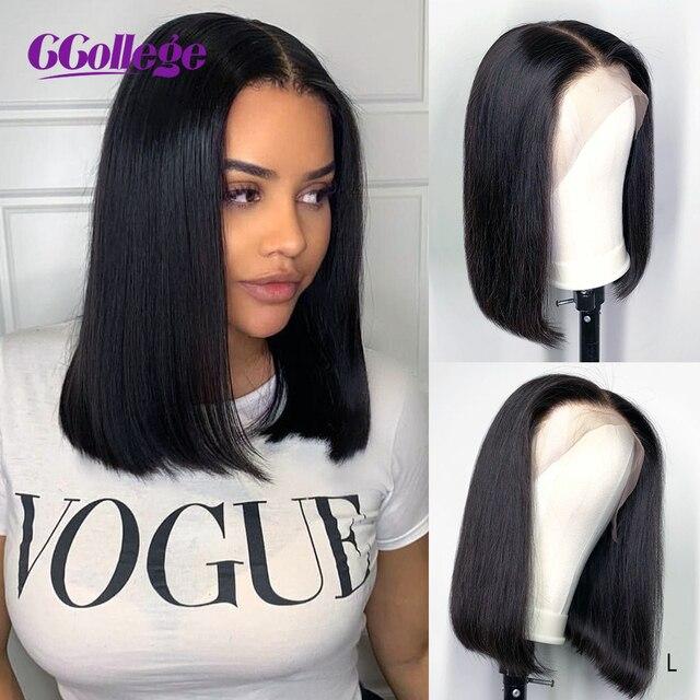 Ccollege 13x4 pelucas de encaje Frontal Bob pelo humano brasileño liso para mujeres negras 150% estilo Base suizo encaje cierre peluca no Remy