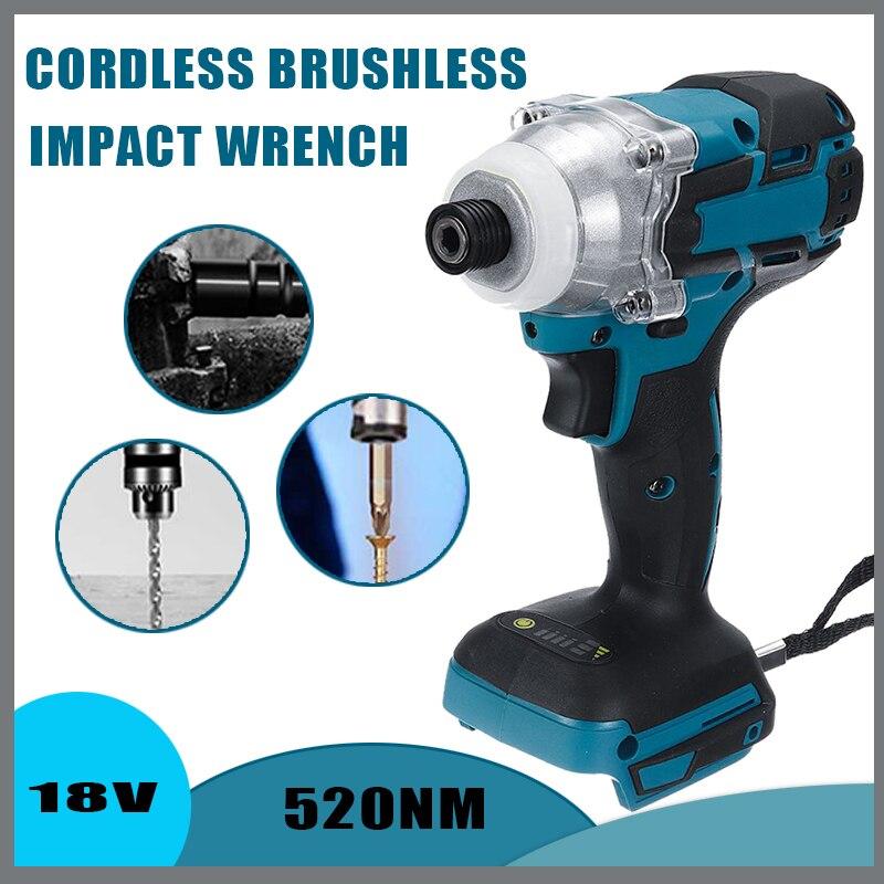 18V Cordless Electric Screwdriver Speed Brushless Impact Wrench Rechargable Drill Driver  LED Light For Makita 18V Battery