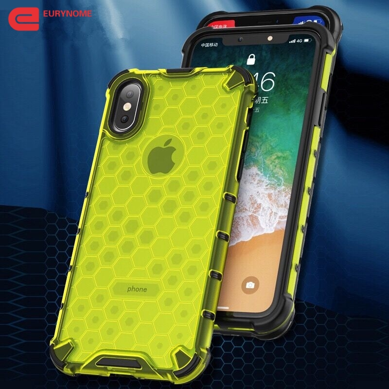 Case for iPhone 11 Pro Max XS Max XR X Cover Silicone Shockproof Armor Honeycomb Plastic Cover For iPhone 8 7 6s 6 Plus Case