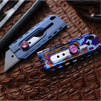 Titanium Alloy Wall Paper Cutter Titanium Material Baked Blue Color EDC Utility Knife Precision CNC Production Outdoor Tool