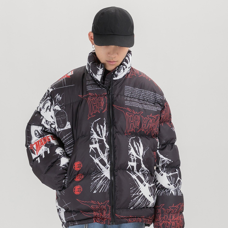 Зимние женские утепленные пальто с милым мультяшным принтом в японском стиле Kawaii с капюшоном для девочек, розовое повседневное короткое те... - 6