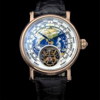 Diseño Creativo 3D tierra Real Seagull Tourbillon ST8000 hombres reloj esmalte Dial cocodrilo cuero Hombre reloj de pulsera mecánico