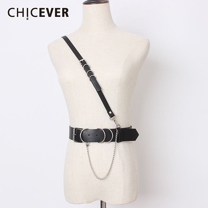 CHICEVER Korean Fashion PU Leather Belts For Women Vintage Dresses Accessories Chain Patchwork Belt Female New 2020 Summer