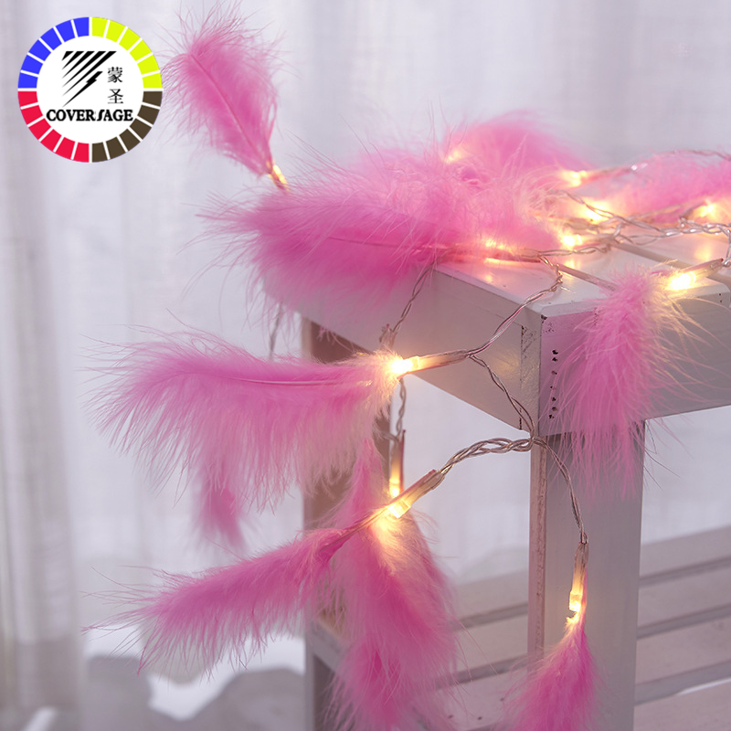 Coversage Christmas Fairy Led String Battery Lights Feather Indoor Curtain String Decorative Lights