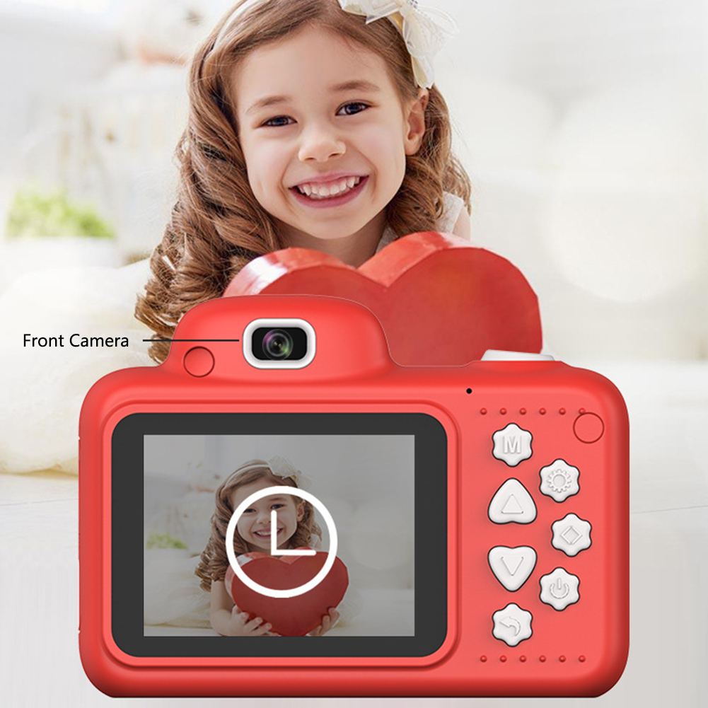 Gifts Kids Mini Camera With Memory Card Digital Cartoon Toys 2.4 Inch Screen ABS DSLR Shockproof Camcorder Video Dual Lens