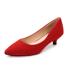 Big Size 34-43 Woman Shoes Suede Leather Med Heels Women Pumps Stiletto Women's Work Shoe Pointed Toe Wedding Shoes JS-B0004 cocoafoal woman green high heels shoes plus size 33 43 sexy stiletto red wedding shoes genuine leather pointed toe pumps 2018