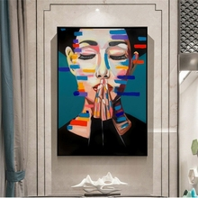 Abstract Girl Oil Paintings Print On Canvas Graffiti Art Posters And Prints Nordic Wall Pictures for Living Room Decor