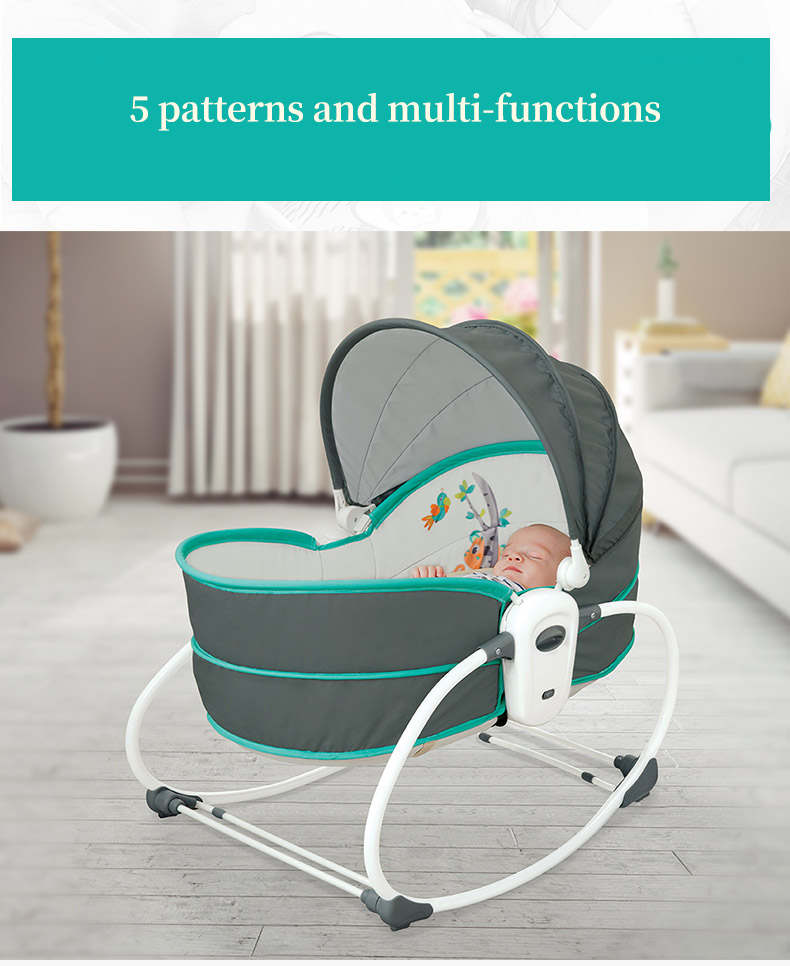 H8b5add2082224bbc9edded11aa9d365a3 Baby electric baby cradle vibration crib in bed rocking chair can do shaker recliner basket three functions optional