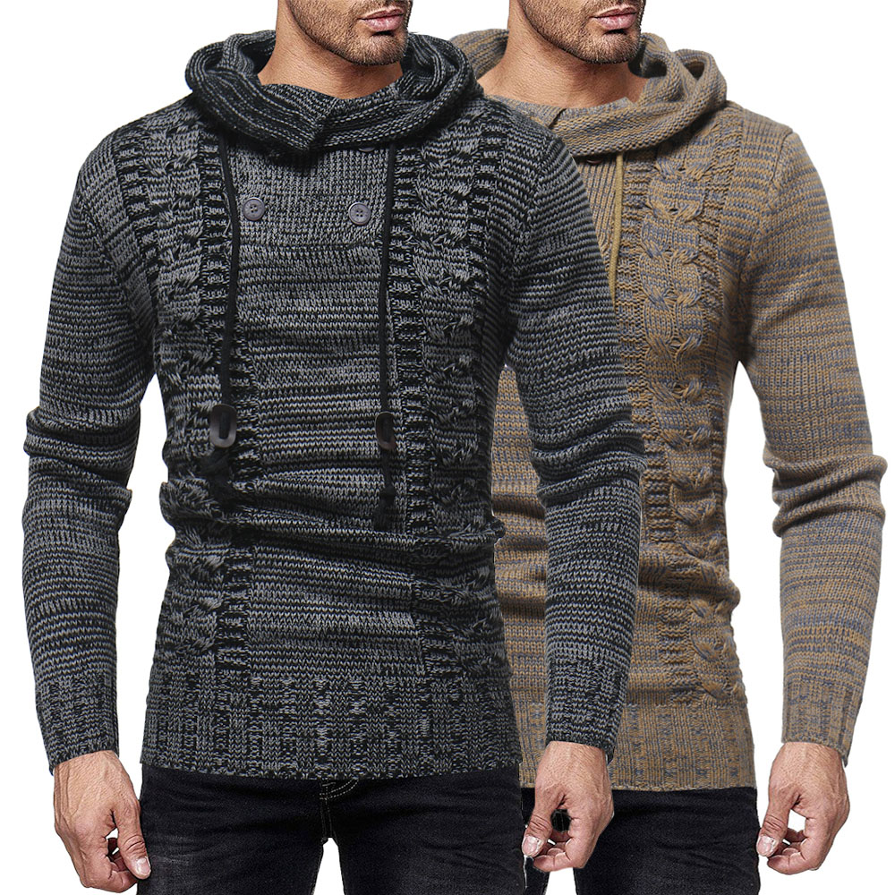 2018 New Arrival Autumn Winter Men's Fashion Twist Double Breasted Matching Color Hooded Slim Knit Sweater Male Clothing