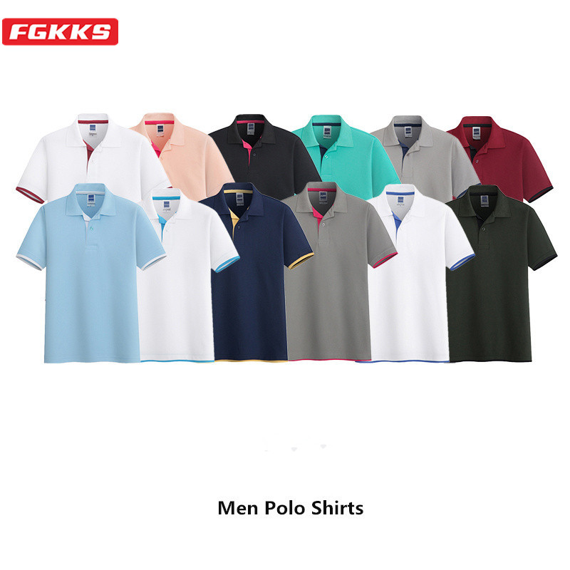 FGKKS Casual Brand Men Polo Shirts Summer New Men's Solid Color Wild Polo Shirts Male Comfortable Slim Fit Polo Shirt Tops