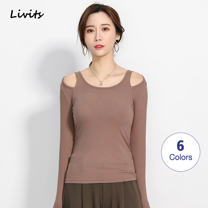 Women's T-Shirts Tshirts Tops Modal Long Sleeve Off Shoulder Elasticity Korean Sexy Casual Solid Color