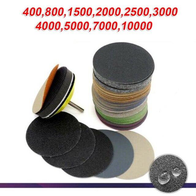 50pcs Sandpaper 75 Mm Wet & Dry Flocking Sandpaper 00/800/1500/2000/2500/3000/4000/ 5000/7000/10000 Grit