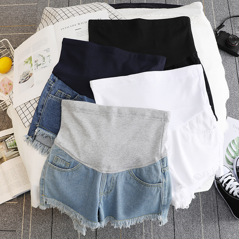 17432# Summer Thin White Denim Maternity Shorts High Waist Belly Short Jeans Clothes for Pregnant Women Pregnancy Casual Shorts 1
