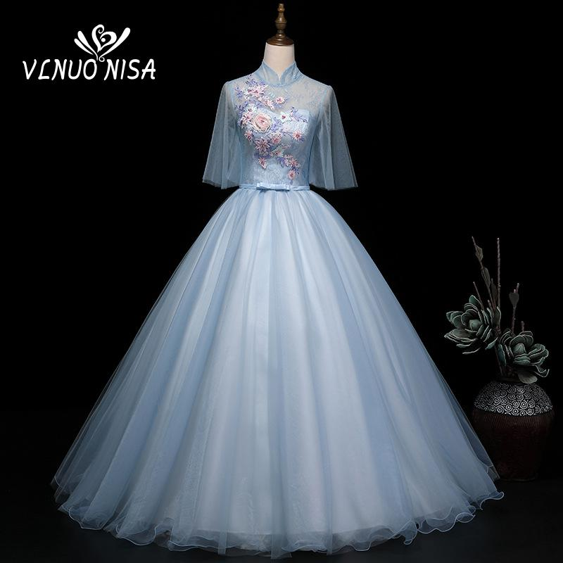 2021 Spring High Neck Half Cap Sleeve Quinceanera Dresses Illusion Princess Studio Photo 3D Flower Lace Embroidery Ball Gown