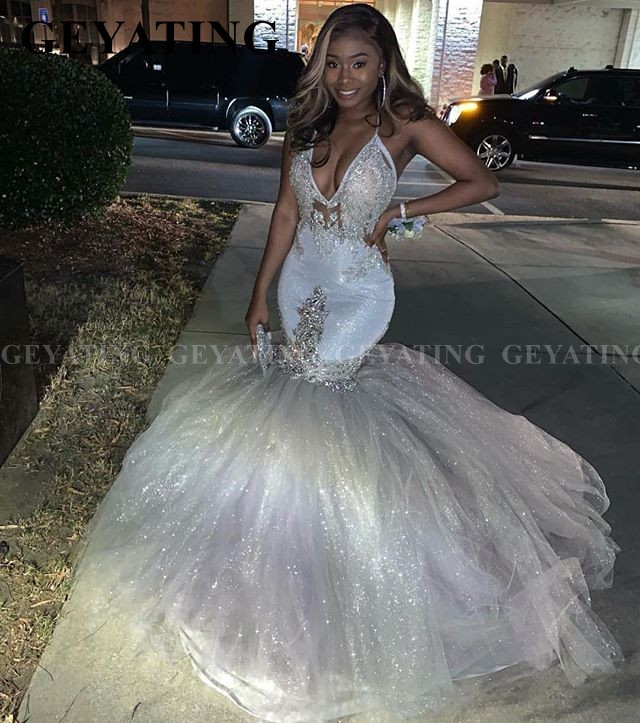 Sexy V-Neck Mermaid Glitter Silver Prom Dresses 2020 Spaghetti Straps Backless African Graduation Dress Long Evening Formal Gown