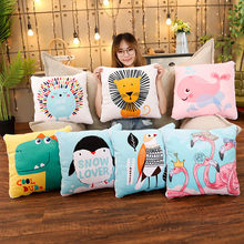 Lovely 2in1 Air-conditioned quilt Whale Lion cute cartoon Pillow plush toys stuffed Accompany Doll Xmas Gifts for children(China)