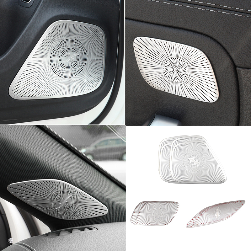 Car Interior Door Stereo Speaker Audio Ring Cover Sound Frame Decoration Trim For Mercedes Benz A Class W177 V177 A180 <font><b>A200</b></font> <font><b>2019</b></font> image