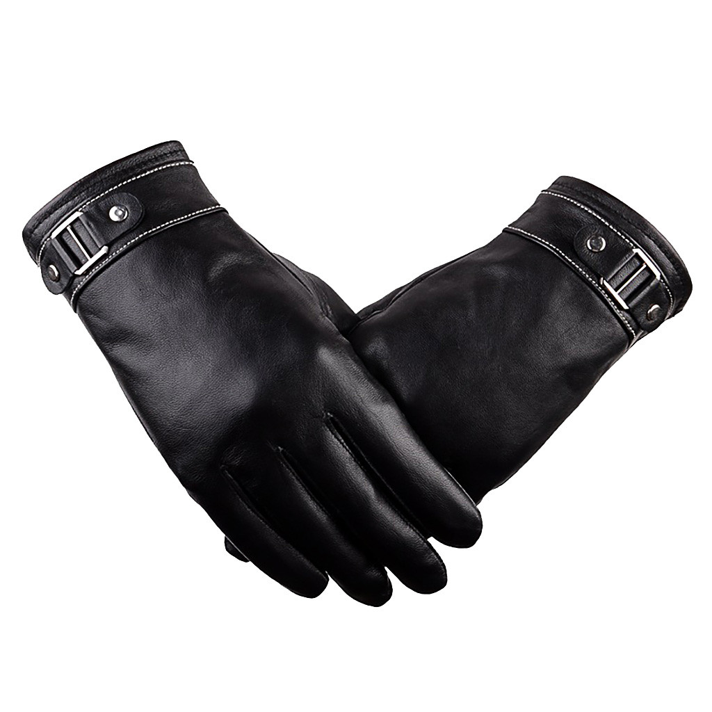 Fashion Classic Adult  Luxurious  Men Leather Winter Super Warm Gloves Cashmere Anti-slip Thermal Touch Screen Gloves