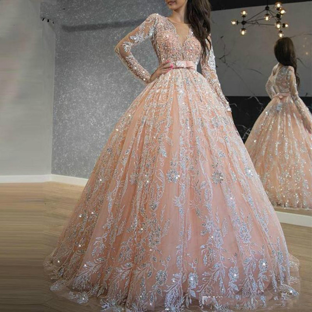 2020 Sparkly Pink Quinceanera Dresses Sequin Lace Ball Gown Prom Dresses Jewel Neck Long Sleeve Sweet 16 Dress Long Formal