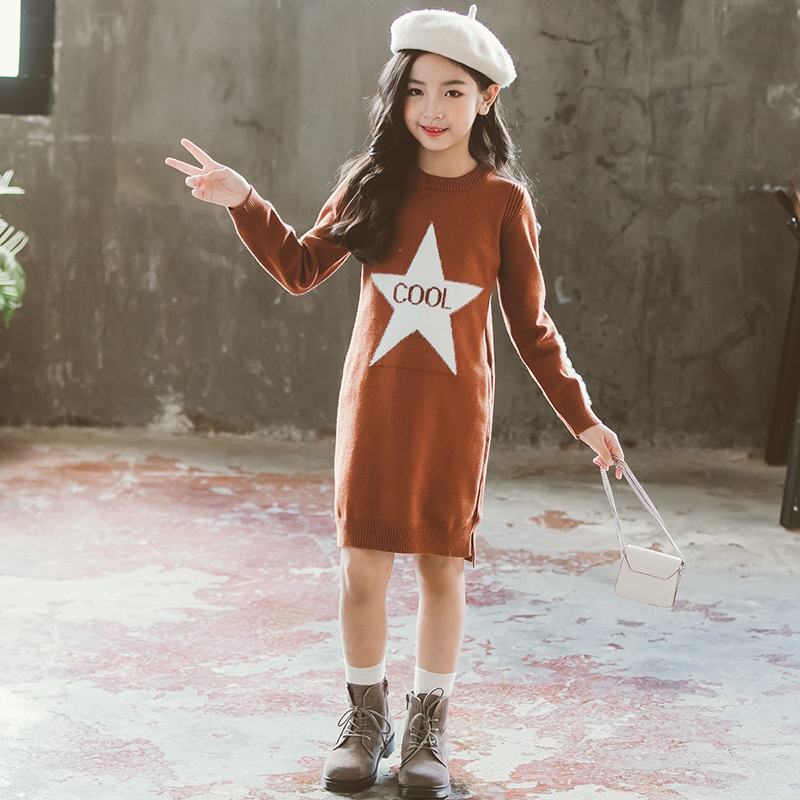 Girl Dress Sweaters Autumn Fall Winter Soft Warm Baby Clothes Top Outfits Teenagers Knitwear 4