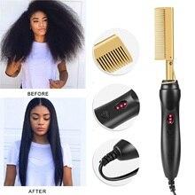 Hair-Straightener Styler Curling Flat-Irons-Brush Hot-Heating-Comb Three-Gears Corrugation