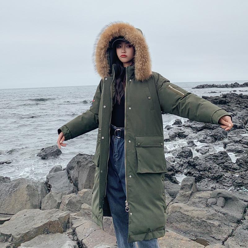 Plus Size Winter Jackets Women Coats Big Fur Collar Hooded Down Jacket Warm Long   Parka   Women Thicken Cotton Jackets 2019 New