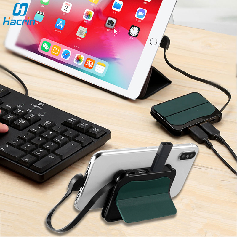 OTG Adapter For IPhone IPad 4 In 1 Dual USB 3.0 Hub OTG Cable For Lightning Port To USB Camera Adapter Connector For IPad Holder