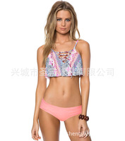 New fashionable lovely leaflet sexy split PRINT SWIMSUIT low waist Bikini Swimsuit